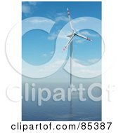 Royalty Free RF Clipart Illustration Of A 3d White And Red Windmill In The Middle Of The Sea