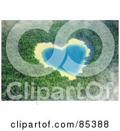 Royalty Free RF Clipart Illustration Of A 3d Aerial View Down On A Misty Heart Shaped Lake In The Middle Of A Forest by Mopic