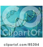 Royalty Free RF Clipart Illustration Of 3d Dna Strands Over A Water Like Background