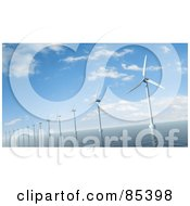 Royalty Free RF Clipart Illustration Of A 3d Row Of Windmills In The Sea Under A Cloudy Blue Sky