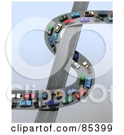 Royalty Free RF Clipart Illustration Of A 3d Traffic Jam Of Straight And Curving Highways Forming A Dollar Symbol Over Gray by Mopic #COLLC85399-0155