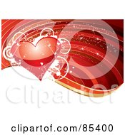 Royalty Free RF Clipart Illustration Of A Shiny Red Heart With White Vines And Stars Over A Red Background With A White Wave