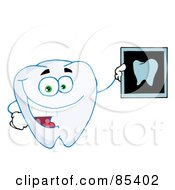 Royalty Free RF Clipart Illustration Of A Happy Tooth Holding An Xray by Hit Toon