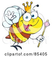 Royalty Free RF Clipart Illustration Of A Friendly Queen Bee by Hit Toon