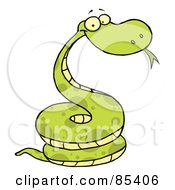 Royalty Free RF Clipart Illustration Of A Green Happy Viper by Hit Toon