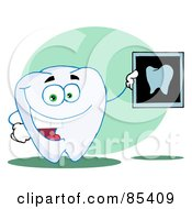 Royalty Free RF Clipart Illustration Of A Happy Tooth With An Xray