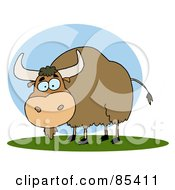 Royalty Free RF Clipart Illustration Of A Brown Yak On Grass