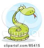 Royalty Free RF Clipart Illustration Of A Coiled Happy Viper by Hit Toon