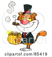 Royalty Free RF Clipart Illustration Of A Wealthy Tiger Carrying A Pot Of Gold And Smoking A Cigar by Hit Toon