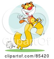 Successful Tiger Riding On A Dollar Symbol