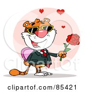 Royalty Free RF Clipart Illustration Of A Romantic Tiger Holding A Box Of Candies And A Rose