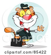 Royalty Free RF Clipart Illustration Of A Friendly Salesman Tiger Waving And Carrying A Briefcase by Hit Toon