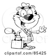 Royalty Free RF Clipart Illustration Of An Outlined Salesman Tiger Waving And Carrying A Briefcase by Hit Toon