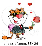 Royalty Free RF Clipart Illustration Of A Tiger Holding A Box Of Candies And A Rose by Hit Toon