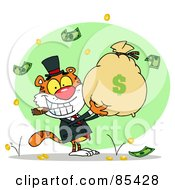 Royalty Free RF Clipart Illustration Of A Successful Tiger Smoking A Cigar And Holding Up A Bag Of Money by Hit Toon
