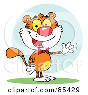 Royalty Free RF Clipart Illustration Of A Friendly Tiger Wearing A Bow Tie And Waving by Hit Toon