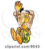 Clipart Picture Of A Slice Of Pizza Mascot Cartoon Character Plugging His Nose While Jumping Into Water by Toons4Biz