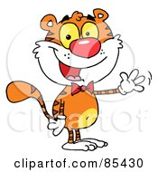 Royalty Free RF Clipart Illustration Of A Cute Tiger Wearing A Bow Tie And Waving by Hit Toon