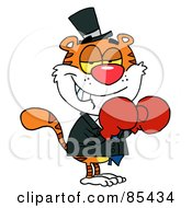 Royalty Free RF Clipart Illustration Of A Boxing Tiger Wearing Red Gloves by Hit Toon