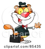 Royalty Free RF Clipart Illustration Of A Salesman Tiger Waving And Carrying A Briefcase by Hit Toon