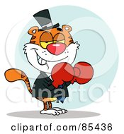 Royalty Free RF Clipart Illustration Of A Tiger Wearing Red Boxing Gloves by Hit Toon