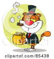 Royalty Free RF Clipart Illustration Of A Rich Tiger Carrying A Pot Of Gold And Smoking A Cigar by Hit Toon