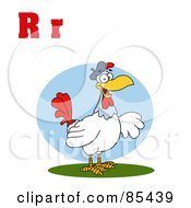 Royalty Free RF Clipart Illustration Of A Rooster With Letters R by Hit Toon