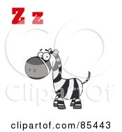 Royalty Free RF Clipart Illustration Of A Happy Zebra With Letters Z by Hit Toon