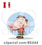 Boy Eating Ice Cream With Letters I