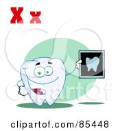 Royalty Free RF Clipart Illustration Of A Tooth Holding An Xray With Letters X by Hit Toon