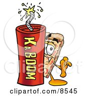 Clipart Picture Of A Slice Of Pizza Mascot Cartoon Character Standing With A Lit Stick Of Dynamite by Toons4Biz