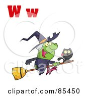 Royalty Free RF Clipart Illustration Of A Witch With Letters W by Hit Toon