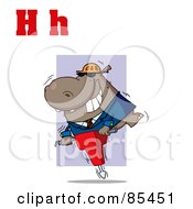 Royalty Free RF Clipart Illustration Of A Hippo With Letters H by Hit Toon