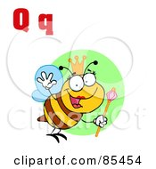Royalty Free RF Clipart Illustration Of A Queen Bee With Letters Q by Hit Toon