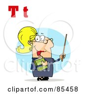 Royalty Free RF Clipart Illustration Of A Female Teacher With Letters T by Hit Toon