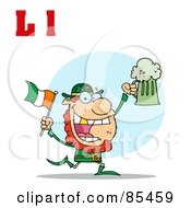 Royalty Free RF Clipart Illustration Of A Leprechaun With Letters L by Hit Toon