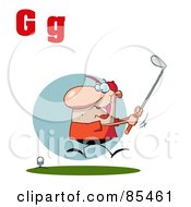 Royalty Free RF Clipart Illustration Of A Male Golfer With Letters G by Hit Toon