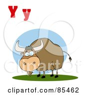 Royalty Free RF Clipart Illustration Of A Yak With Letters Y by Hit Toon