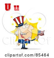 Royalty Free RF Clipart Illustration Of Uncle Sam With Letters U