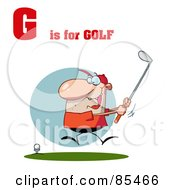 Royalty Free RF Clipart Illustration Of A Male Golfer With G Is For Golf Text by Hit Toon
