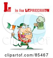 Royalty Free RF Clipart Illustration Of A Leprechaun With L Is For Leprechaun Text