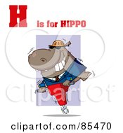 Royalty Free RF Clipart Illustration Of A Hippo With H Is For Hippo Text by Hit Toon