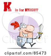 Royalty Free RF Clipart Illustration Of A Knight With K Is For Knight Text by Hit Toon