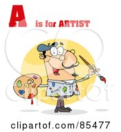 Royalty Free RF Clipart Illustration Of A Male Artist With A Is For Artist Text by Hit Toon