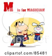 Royalty Free RF Clipart Illustration Of A Magician With M Is For Magician Text by Hit Toon