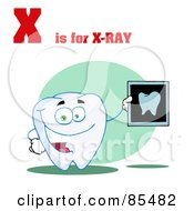 Royalty Free RF Clipart Illustration Of A Tooth Holding An Xray With X Is For Xray Text