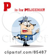 Royalty Free RF Clipart Illustration Of A Cop With P Is For Policeman Text