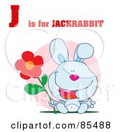 Royalty Free RF Clipart Illustration Of A Rabbit With J Is For Jackrabbit Text