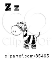Royalty Free RF Clip Art Illustration Of A Black And White Zebra With Letters Z by Hit Toon