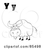 Outlined Yak With Letters Y
